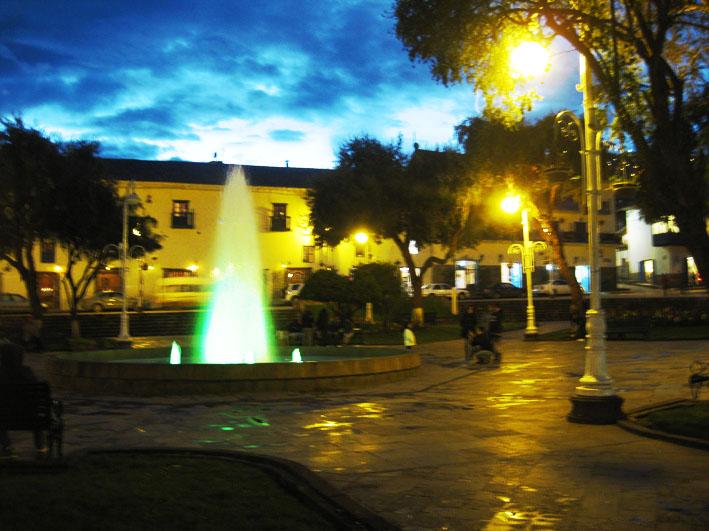 night view of Plaza Regocijo