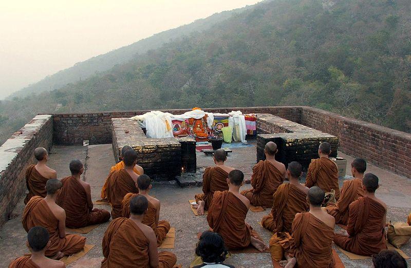 Monks meditating on Vulture's Peak
