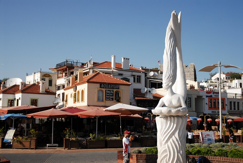 Mermaid statue in the port of Marmaris, Muğla Province