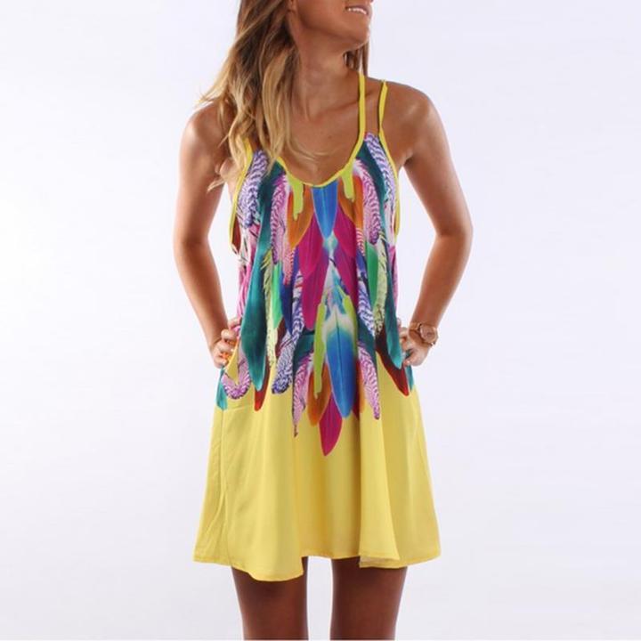 chiffon feather printed mini dress by Travel Gorgeous