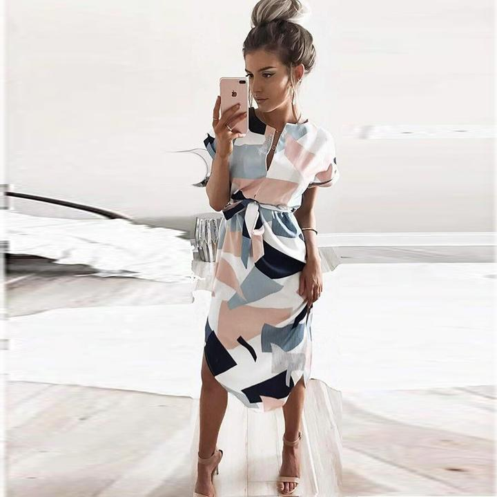 pencil dress with geometric print by Travel Gorgeous