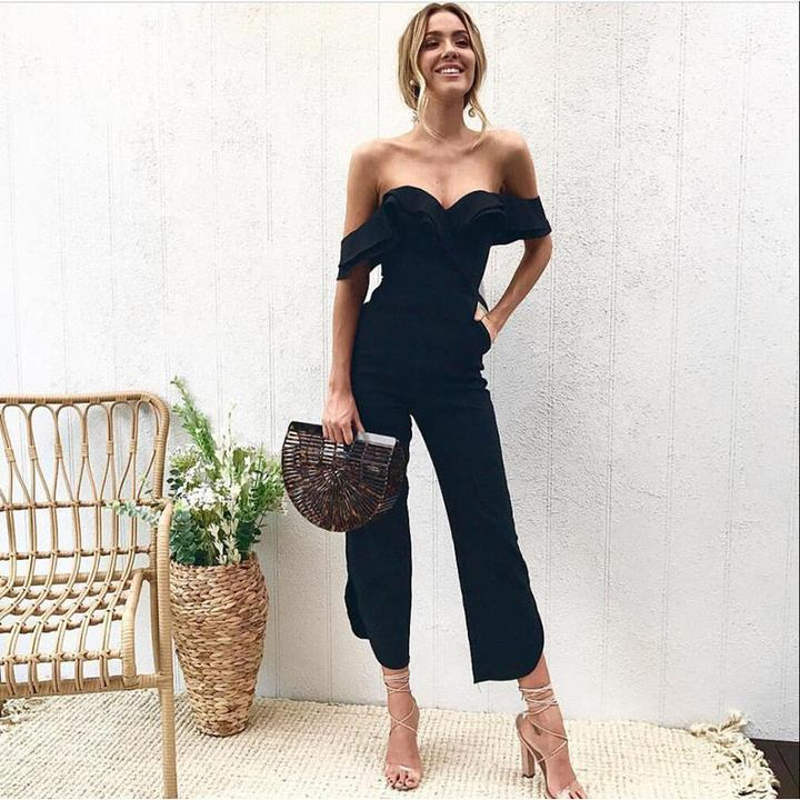 sexy off shoulder split wide leg rompers by Travel Gorgeous
