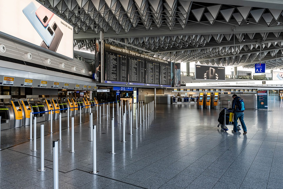 Fewer travellers at airports